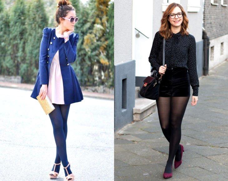 Como usar meias com seu traje de escritório;  meninas com vestido rosa, jaqueta azul, blusa de bolinhas, shorts de camurça, meia-calça e tênis