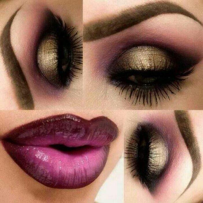 maquilhagem de noite lábios roxos
