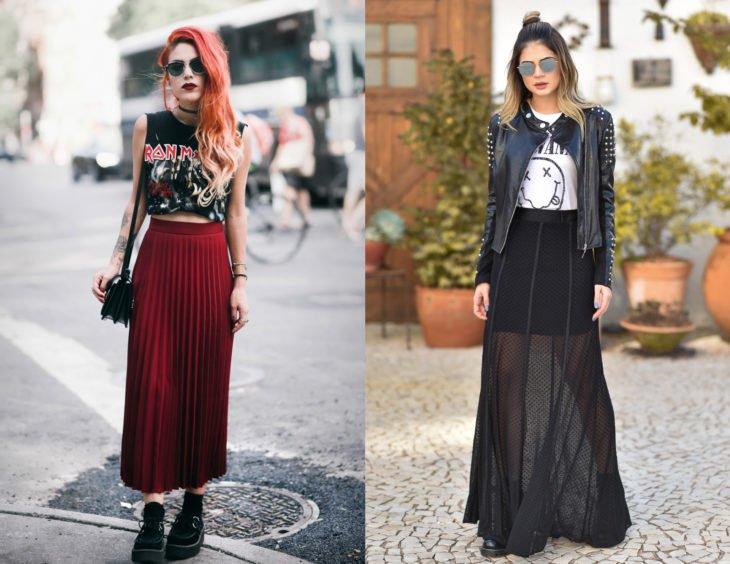Roupas de camisa de bandas de rock;  garota ruiva em uma blusa do Iron Maiden, saia vermelha, saia longa pregueada e creepers plataforma;  mulher com roupa nirvana, saia curta com chiffon e jaqueta de couro com tachas
