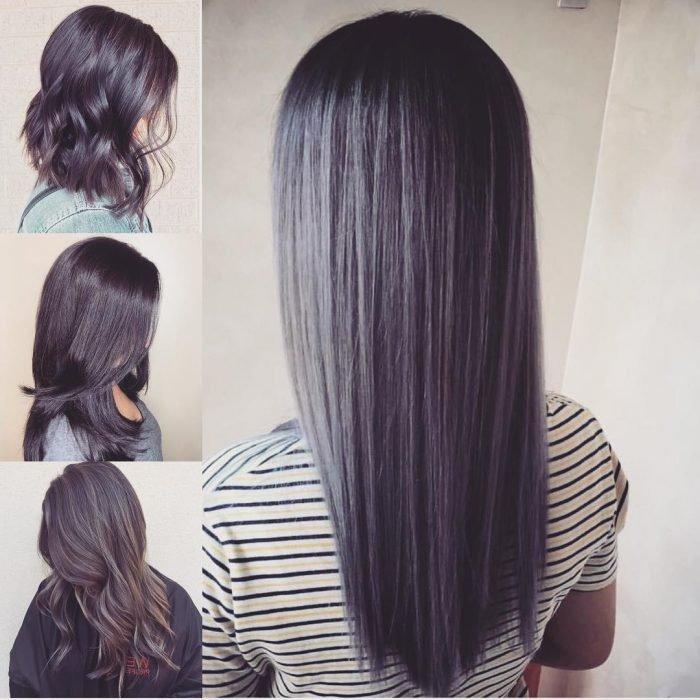 Meninas com cabelos esfumados com preto
