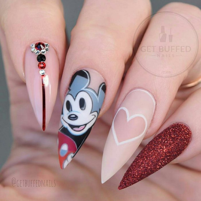 Mickey Mouse Stilletto Nails