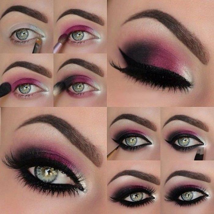Tutorial de maquiagem para os olhos rosa e cinza à noite