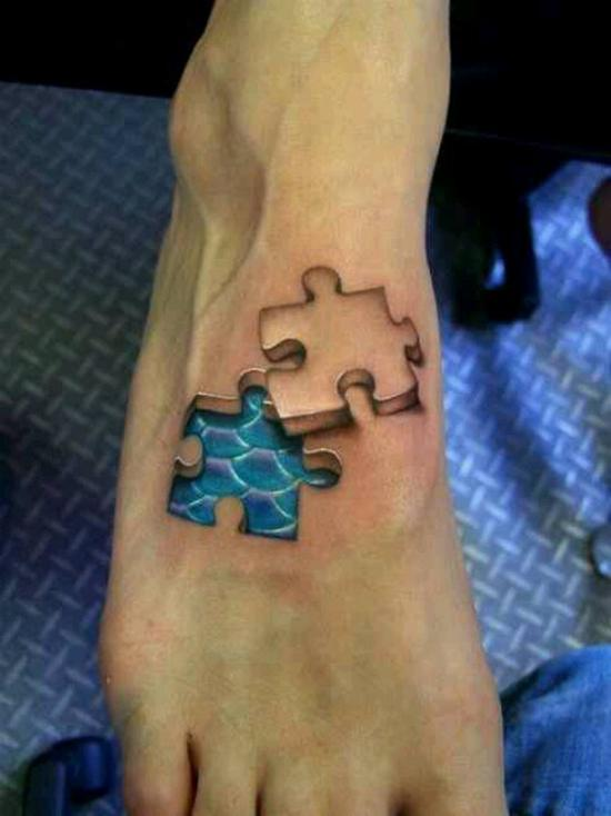 photos-of-tattoos-3d-puzzle-piece-on-the-foot