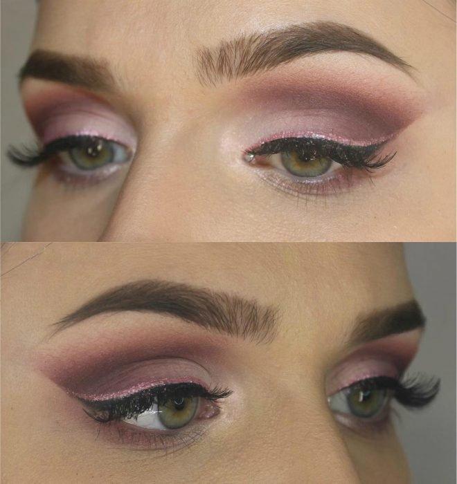 mulher com maquiagem rosa sombra