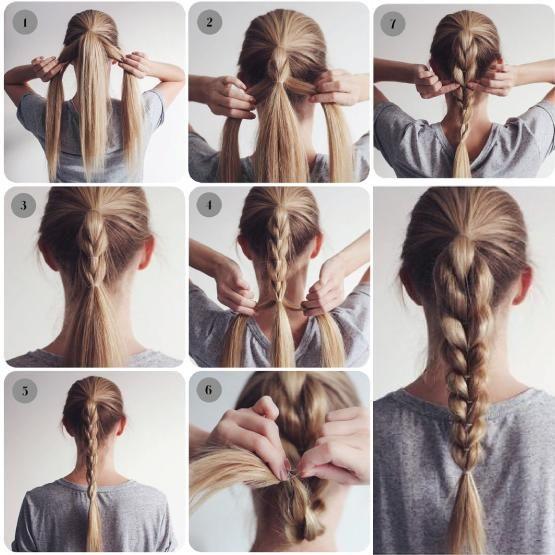 Menina fazendo um tutorial sobre como fazer um penteado simples