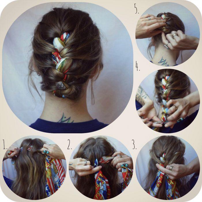 Menina mostrando tutorial de como fazer penteado com lenços